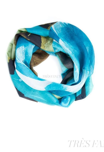 Aqua and Olive Mixed Silk Infinity Scarf-Women - Accessories - Scarves-Ellen Brook-Très Fancy