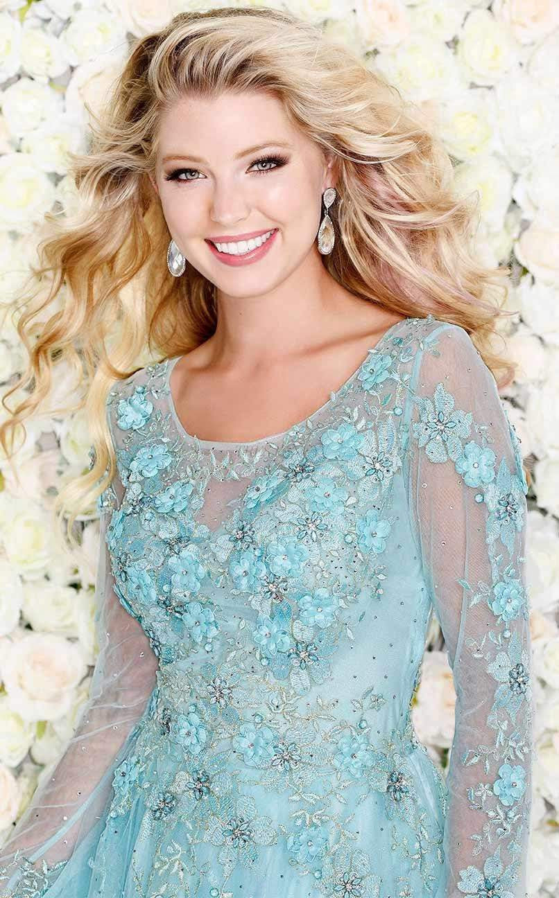 Aqua Breezy long-sleeved gown with tonal florals-Women - Apparel - Prom Dresses - Cocktail & Party-Shail K-0-Aqua-TRESFANCY