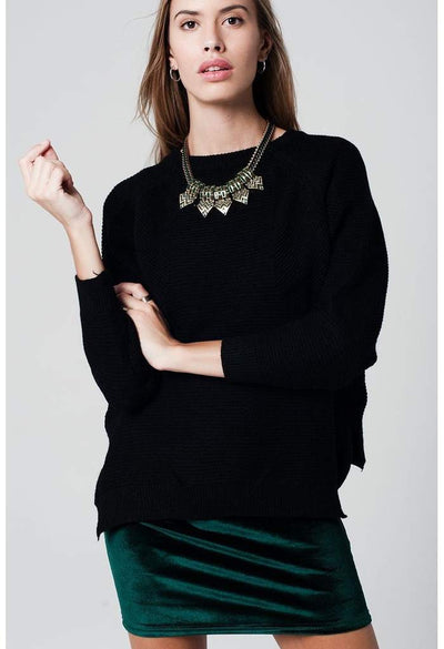 asymmetric black sweater crossed knit with side slits-Women - Apparel - Sweaters - Pull Over-Q2-S-Très Fancy