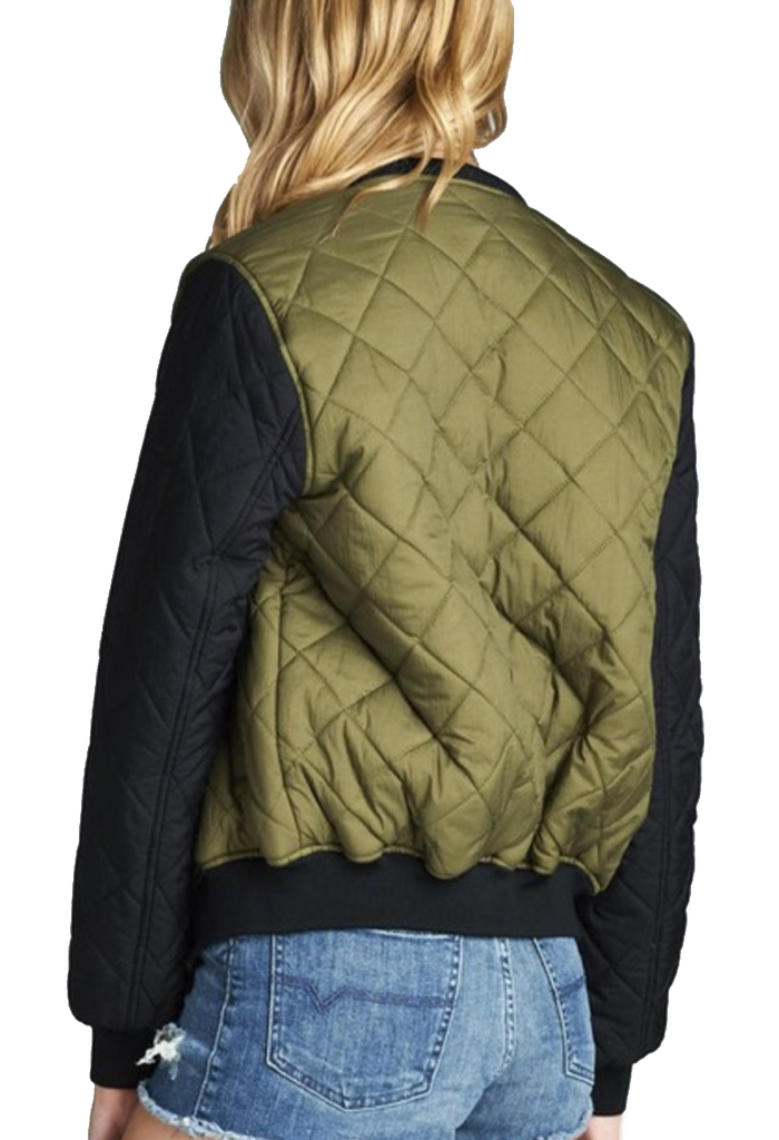 """The Quilted Mix"" Olive & Black Padded Bomber Jacket-Women - Apparel - Outerwear - Puffer Coats-A Peace of Mind Jewelry & Boutique-Small-Très Fancy"