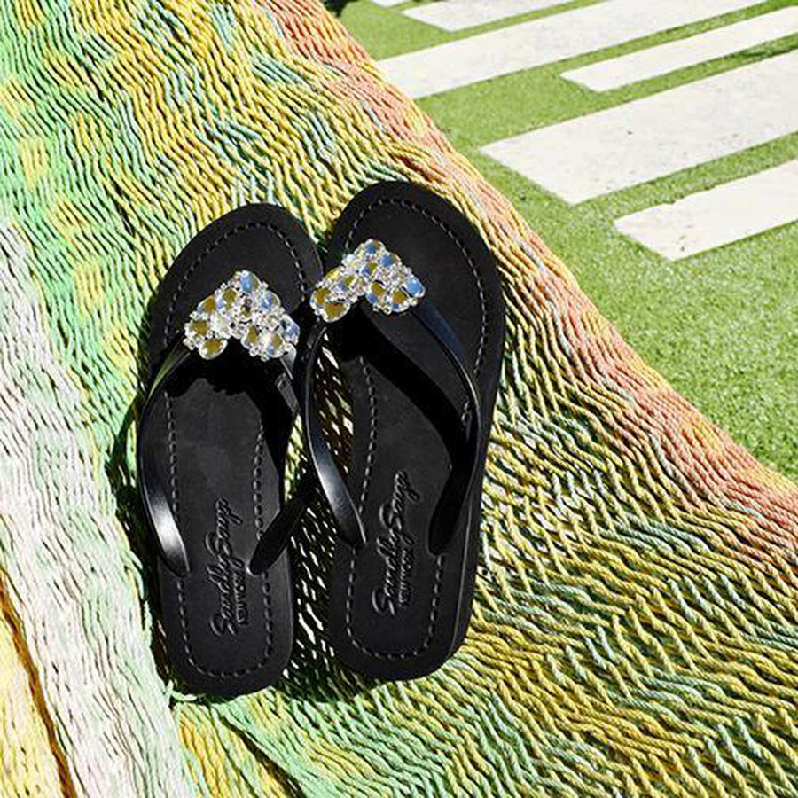 Crystal Chelsea Heart - Mid Wedge-Women - Shoes - Sandals-Sand by Saya New York-Black-4XXS-Très Fancy