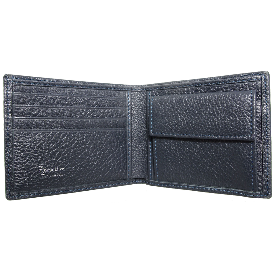 Grained Wallet with Coin Pocket Blue-Men - Accessories - Wallets & Small Goods-72 Smalldive-Très Fancy