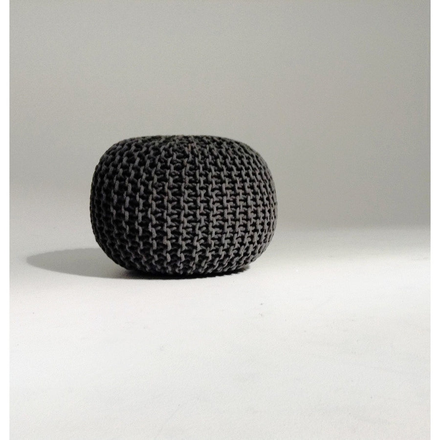 Handmade Round Knitted Pouf | Charcoal Gray | 50x35cm | GFURN-Home - Furniture-GFURN Design Furniture-Très Fancy