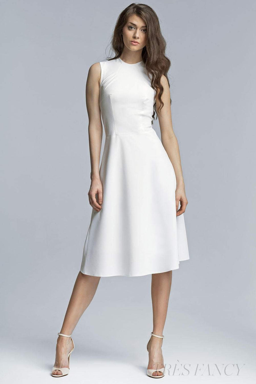 Back Midi Dress with High Neckline