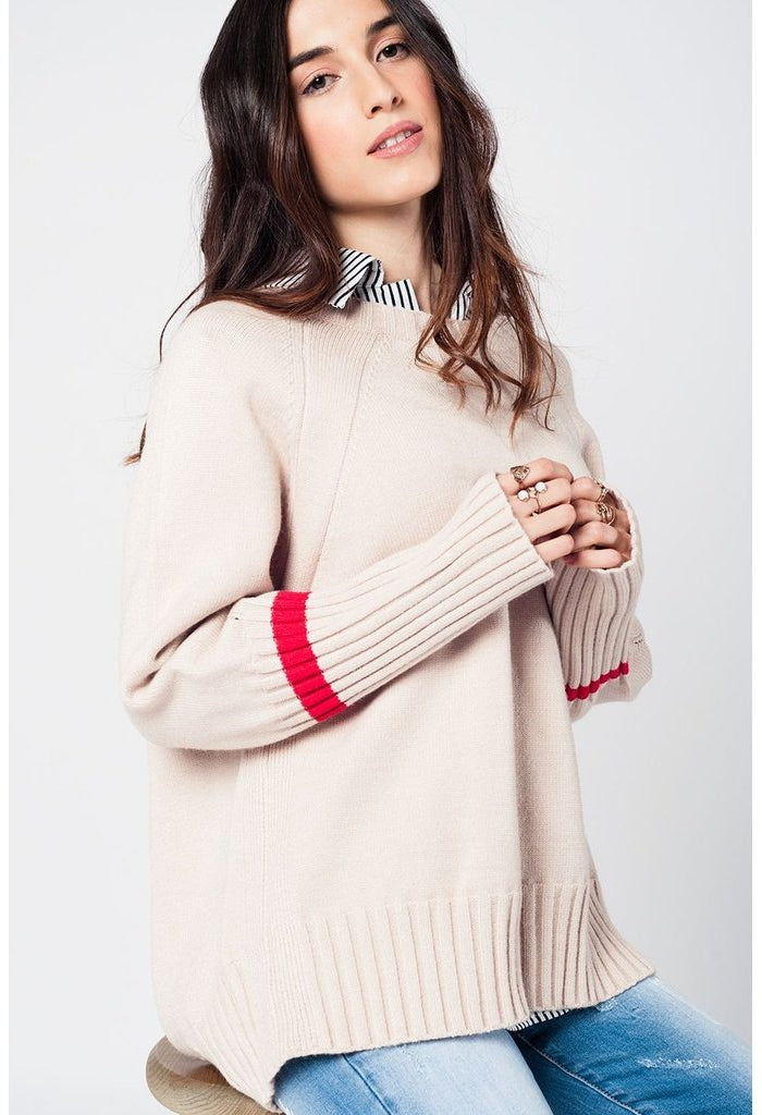 Beige oversized sweater with back slits-Women - Apparel - Sweaters - Pull Over-Q2-Très Fancy