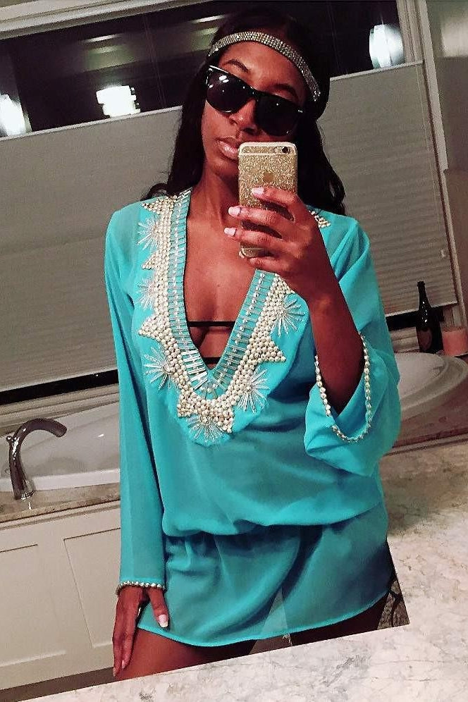 Beach Glam Turquoise and Silver Silk Kaftan-Women - Apparel - Swimwear - Cover Ups-Beach Glam-TRESFANCY