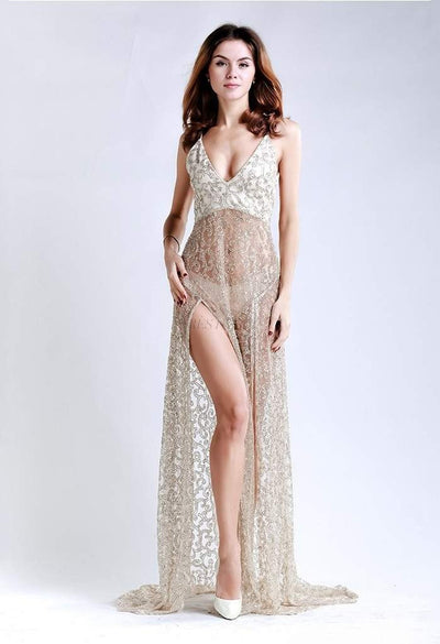 Beige See Thru Sequin Maxi-Women - Apparel - Dresses - Maxi-Evelyn Belluci-XS-Très Fancy