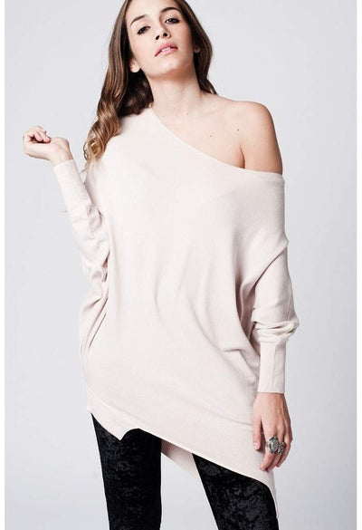 beige soft asymmetric jersey with bat sleeves-Women - Apparel - Sweaters - Cardigans-Q2-S-Très Fancy
