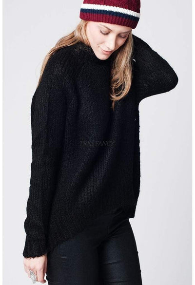 Black asymmetric wool knit sweater with ribbed turtle neck-Women - Apparel - Sweaters - Cardigans-Q2-S-Très Fancy