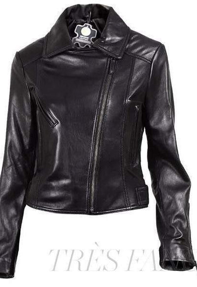 Black Brando Women Leather Jacket-Women - Apparel - Outerwear - Jackets-Leather Skin-Très Fancy