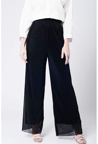 Black cheesecloth pants-Women - Apparel - Pants - Trousers-Q2-S-Très Fancy