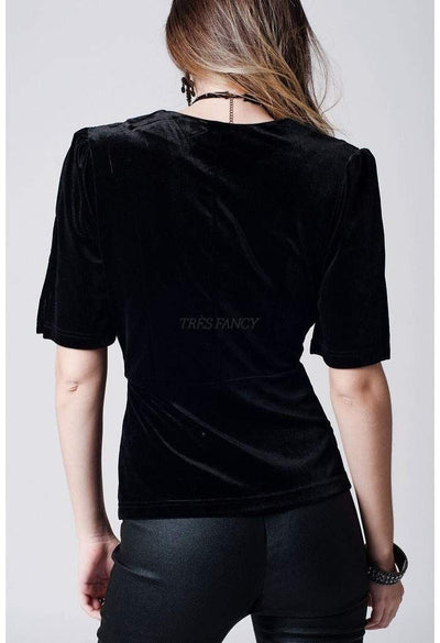 Black deep plunge velvet top-Women - Apparel - Shirts - Blouses-Q2-S-Très Fancy