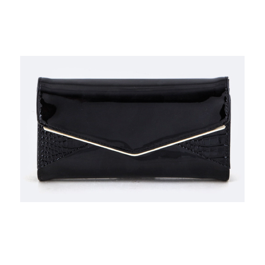 Black Envelope Embossed Wallet-Women - Accessories - Wallets & Small Goods-Le Chic, LLC-TRESFANCY