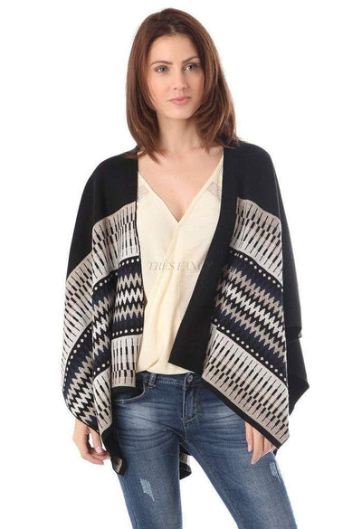 Black geo-tribal cape in knitted fabric-Women - Apparel - Outerwear - Jackets-Q2-Très Fancy