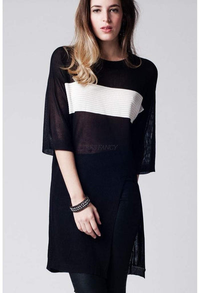 Black longline top with contrast stripe and split front-Women - Apparel - Sweaters - Cardigans-Q2-M-Très Fancy