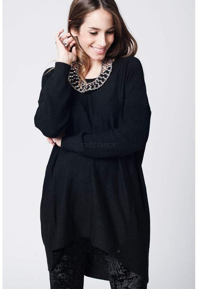 black oversize jersey with ribbed back and asymmetric hem-Women - Apparel - Sweaters - Cardigans-Q2-Très Fancy
