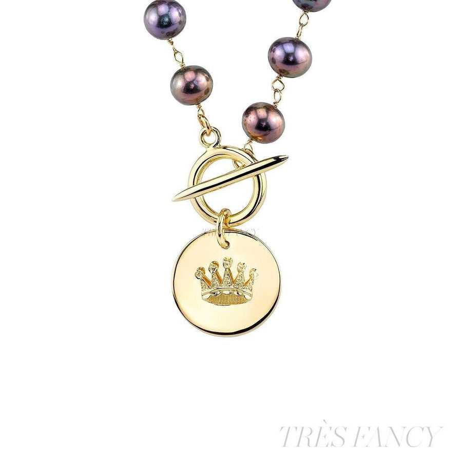 Black Pearl Crown Pendant Necklace