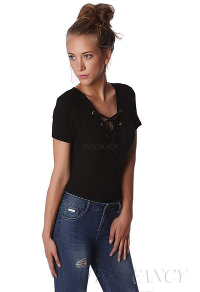 Black ribbed body with lace-up front-Women - Apparel - Shirts - Blouses-Q2-S-Très Fancy