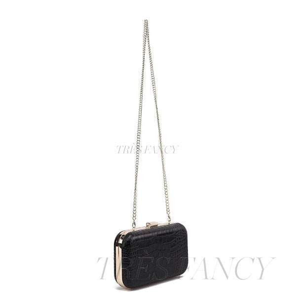 Black Rose Black Show stopping croc embossed leather clutch-Women - Bags - Clutches & Evening-F&W STYLE-Très Fancy