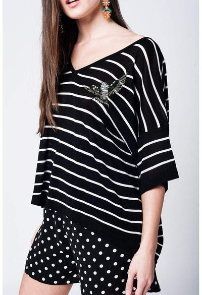 Black striped sweater with bird detail-Women - Apparel - Sweaters - Cardigans-Q2-S-Très Fancy