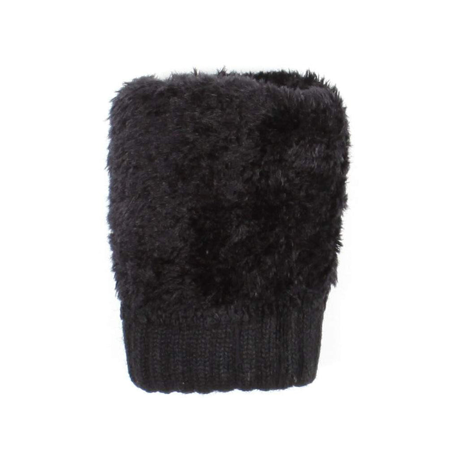 Black Womens Lace Knit Winter Gloves Fleece Lined