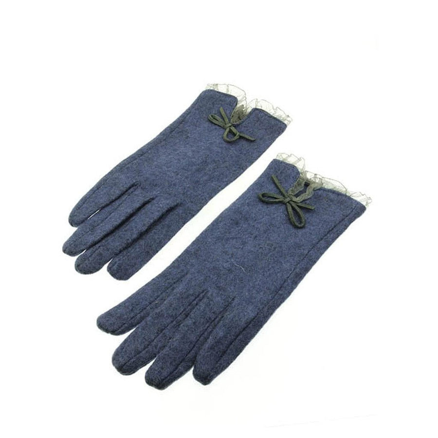 Blue Wool Sheer Ruffle Lace Bow Gloves