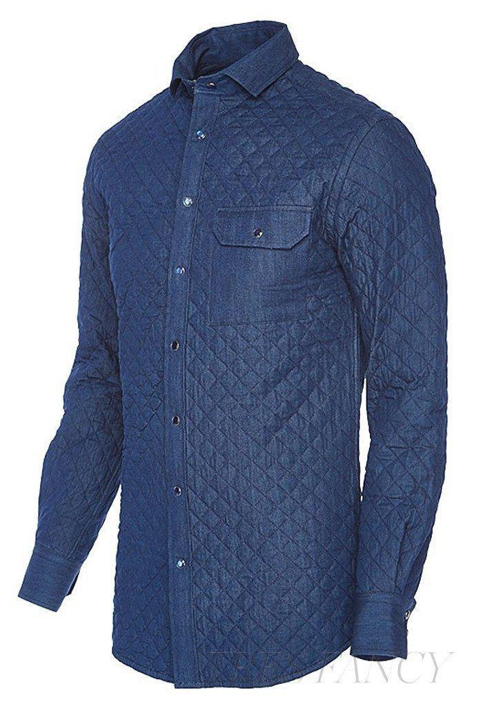 BUBBI Royal blue quilted denim shirt-Men - Apparel - Denim - Shirts-SKYRTA of Iceland-Très Fancy