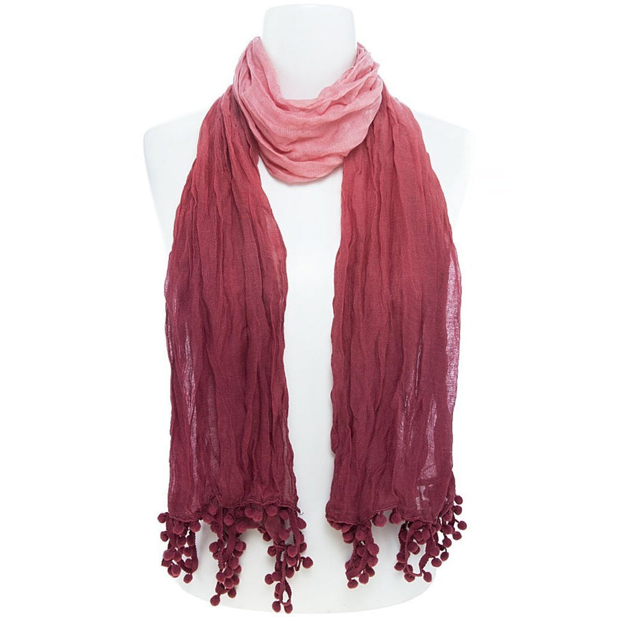 Burgundy Flower Embroidered Scarf