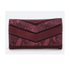 Burgundy Snake Color Block Wallet-Women - Accessories - Wallets & Small Goods-Le Chic, LLC-TRESFANCY