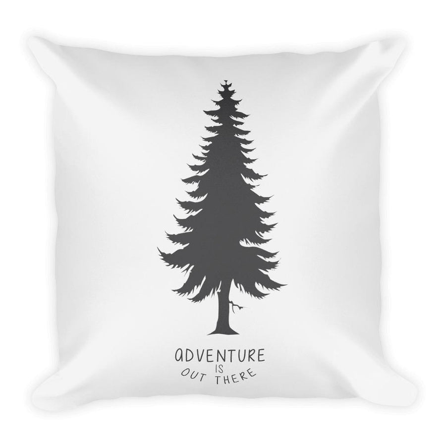Adventure is out there (Black) Square Pillow-Home - Pillows & Throws-Hipster's Wonderland-Très Fancy