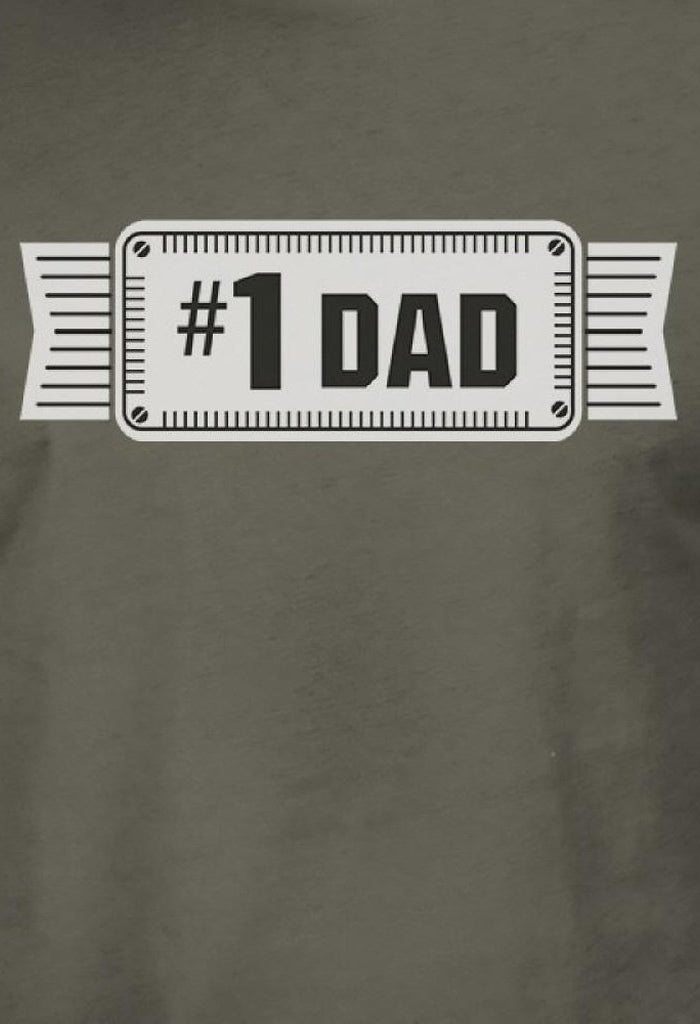 #1 Dad Mens Dark Gray Round Neck Unique Design Tee Funny Dad Gifts