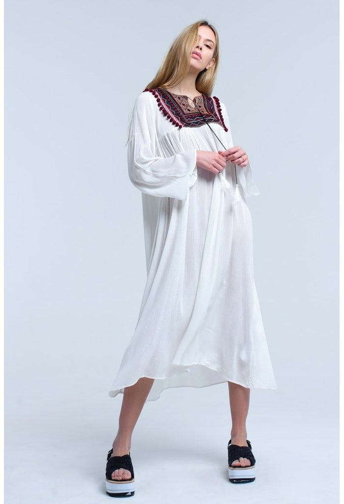 White midi dress with tassel and embroidered detail-Women - Apparel - Dresses - Day to Night-Q2-S-Très Fancy