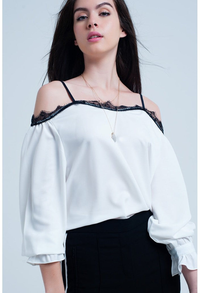 White top with black lace and bare shoulders-Women - Apparel - Shirts - Blouses-Q2-S-Très Fancy