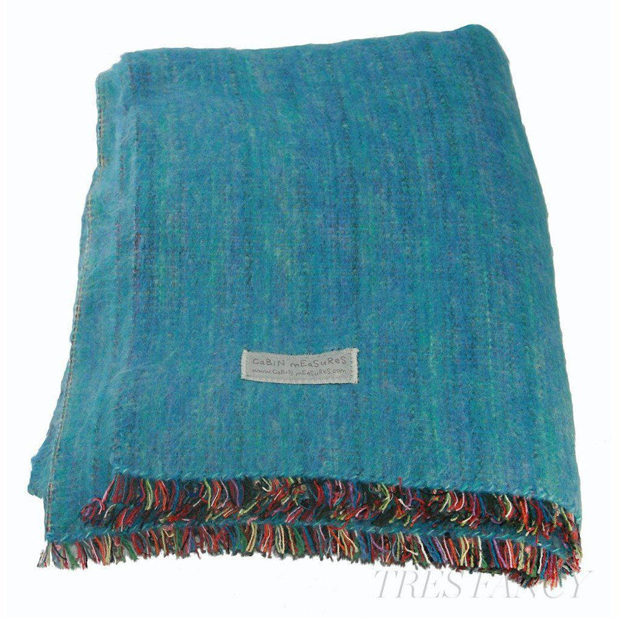 Cabin Measure 100% Alpaca Travel Blanket in Turquoise