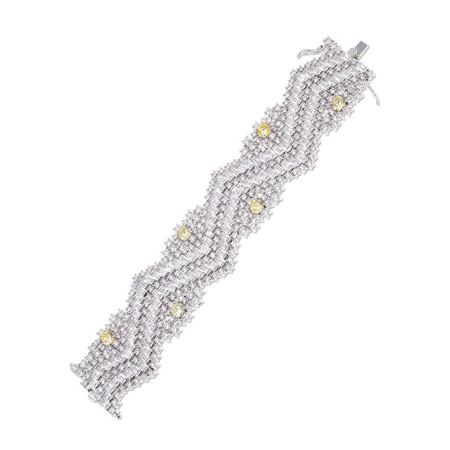 Canary Yellow Zigzag Bracelet-Women - Jewelry - Bracelets-CZ by Kenneth Jay Lane-Très Fancy