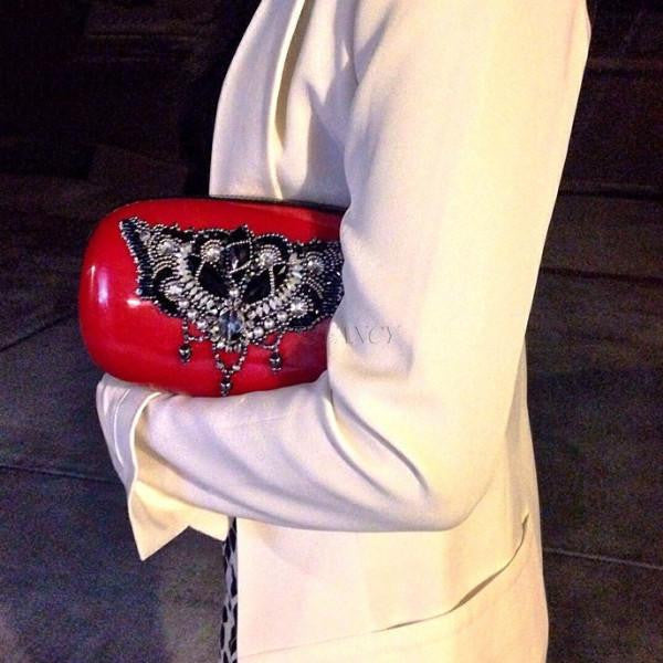 Candy Clutch (Red/Black)-Women - Bags - Clutches & Evening-AR Anna Rubio-OS-Red-Très Fancy