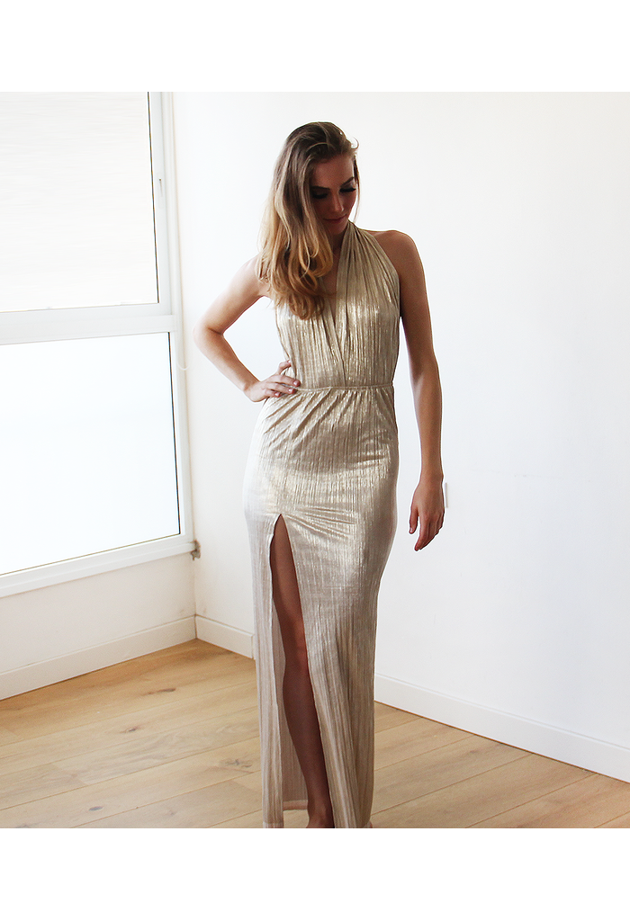 Gold Metallic Halter-Neck Maxi Gown 1137