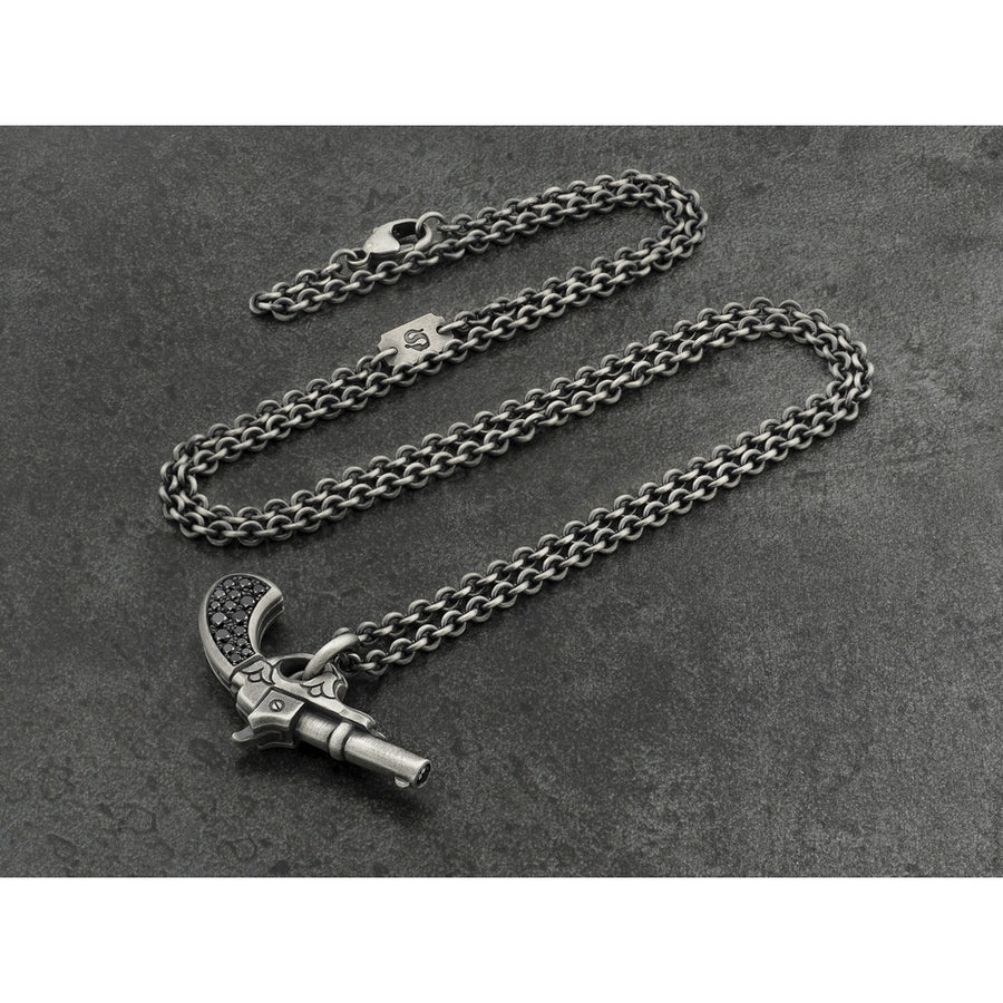 Gun Pendant in Sterling Silver with Black Diamonds-Men - Jewelry - Necklaces-Snake Bones-Très Fancy