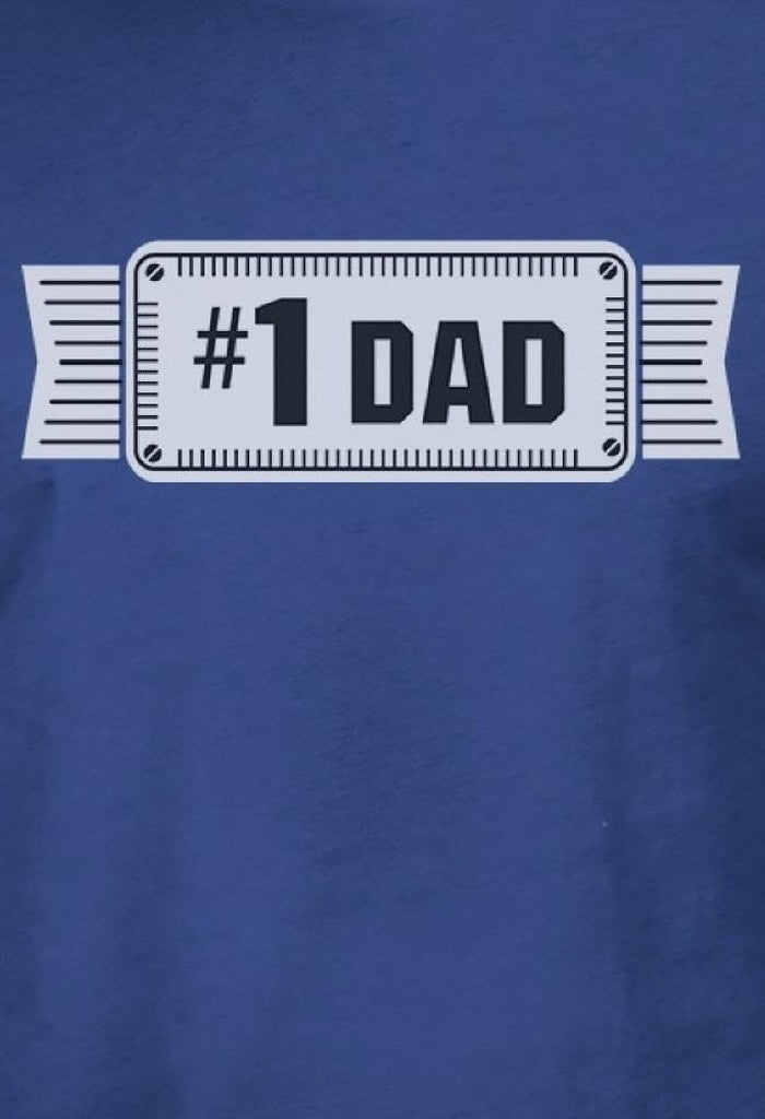 #1 Dad Mens Blue Cotton T-Shirt Vintage Design Graphic Tee For Dad-Men - Apparel - Shirts - T-Shirts-TSF Design-SMALL-Très Fancy