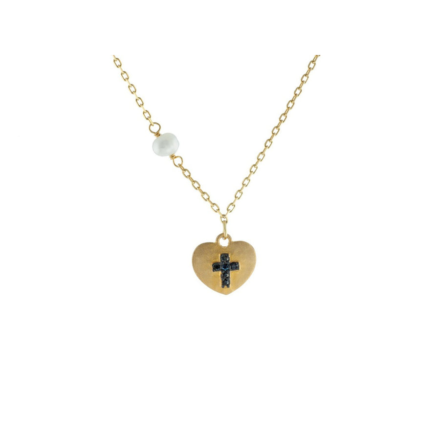 "14k Gold Plated Silver Satin Heart w/ engraved Black Cross & Dangling Pearl Necklace, 15.5""-Women - Jewelry - Necklaces-Fronay Collection-Très Fancy"