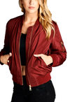"""The Classic"" Burgundy Padded Bomber Jacket-Women - Apparel - Outerwear - Puffer Coats-A Peace of Mind Jewelry & Boutique-Small-Très Fancy"