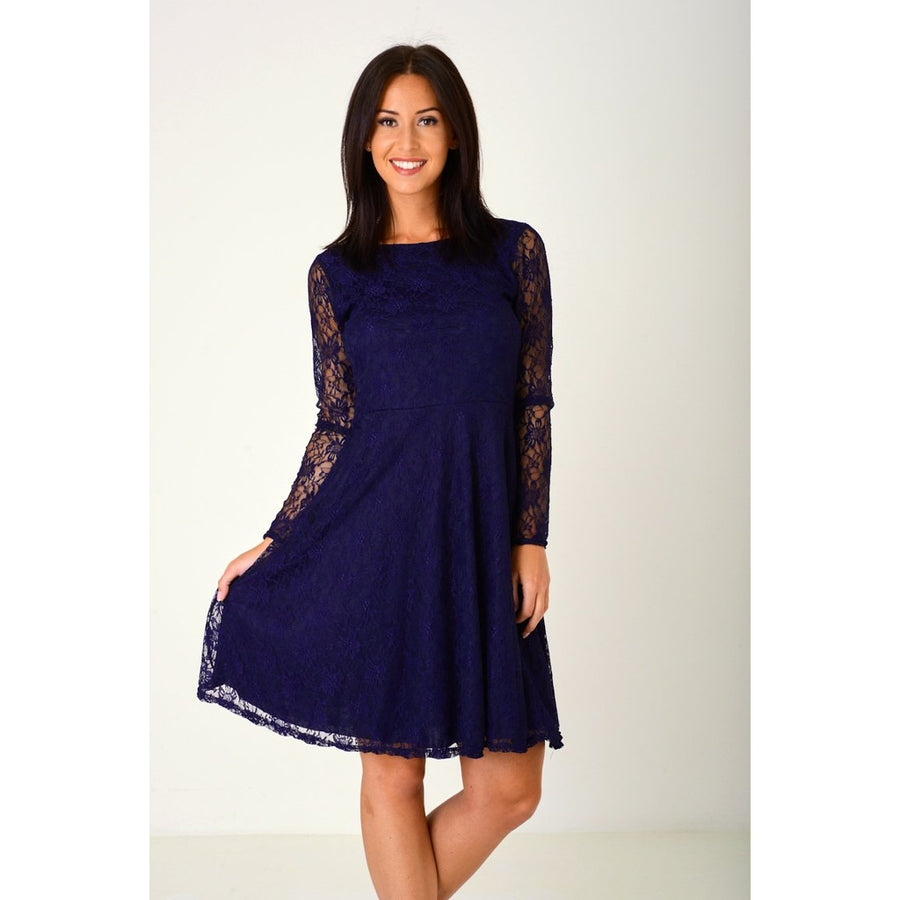 Lace Midi Skater Dress in Purple
