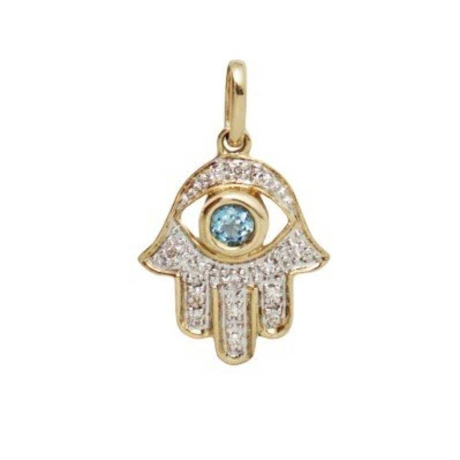 14k Gold Diamond Hamsa Blue Topaz Necklace-Women - Jewelry - Necklaces-A Peace of Mind Jewelry & Boutique-16 inches-Très Fancy