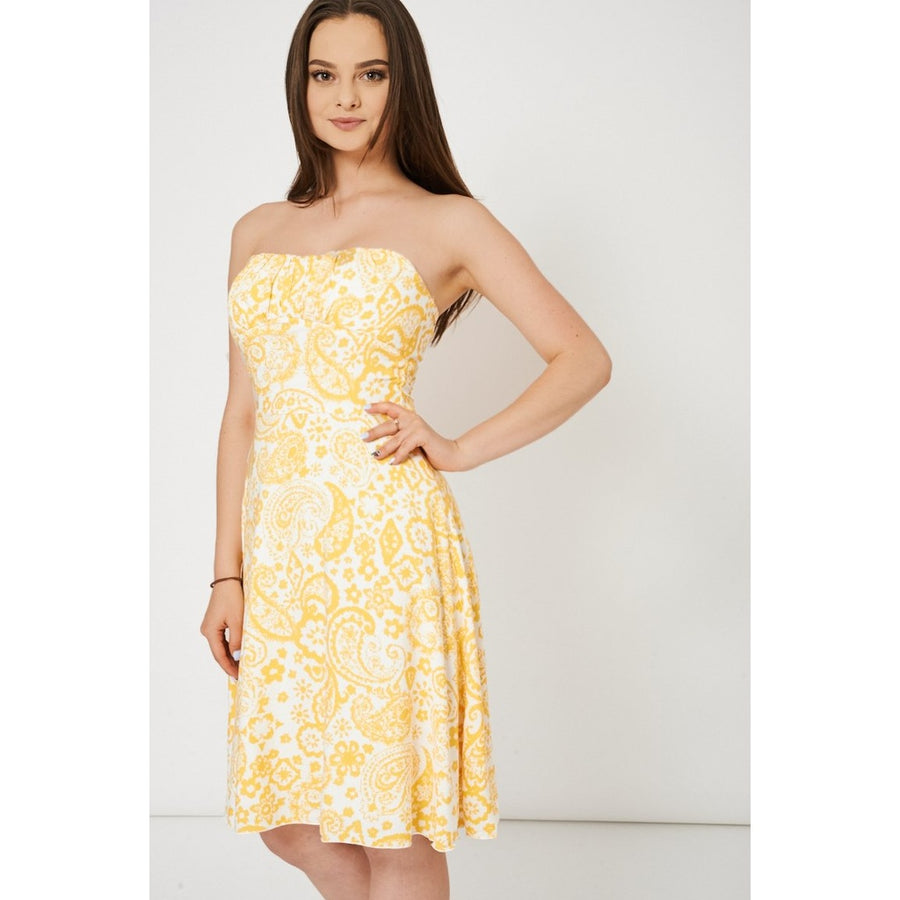 Yellow And White Bandeau Dress