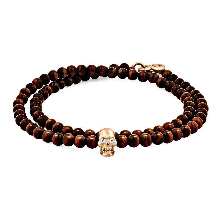 Double-Wrap Skull Bracelet in 18K Gold with Diamond Eyes, Red Tiger Eye and Snake Clasp-Men - Jewelry - Bracelets-Snake Bones-Extra Small-Très Fancy