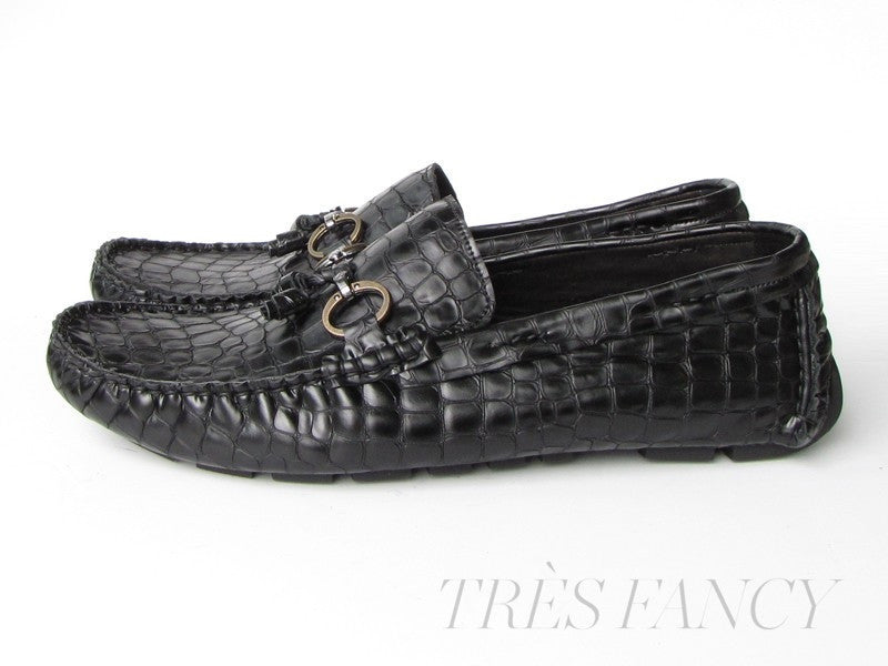 Driving Moccasin Black Crocodale Embossed