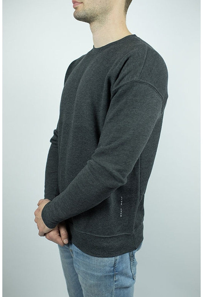 Drop Shoulder Fleece Sweater in Dark Grey-Men - Apparel - Sweaters - Crew Neck-Craft of Lyfe Clothing Inc-Très Fancy