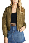 """The Classic"" Olive Padded Bomber Jacket - Comes in 4 Colors-Women - Apparel - Outerwear - Puffer Coats-A Peace of Mind Jewelry & Boutique-Small-Très Fancy"