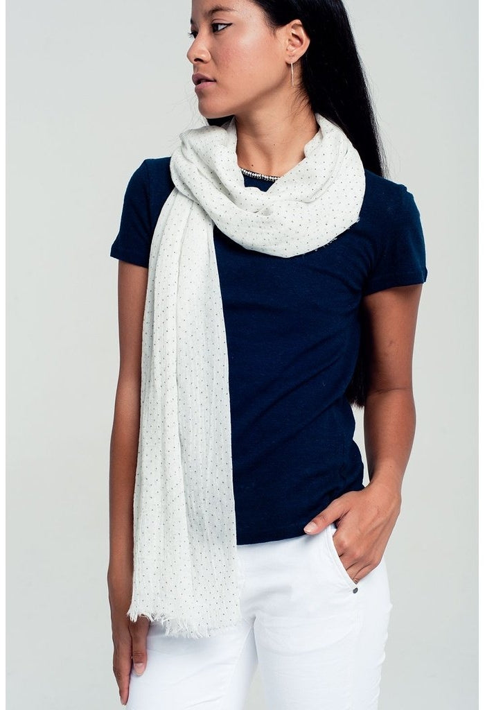 Lightweight polka dot scarf in white