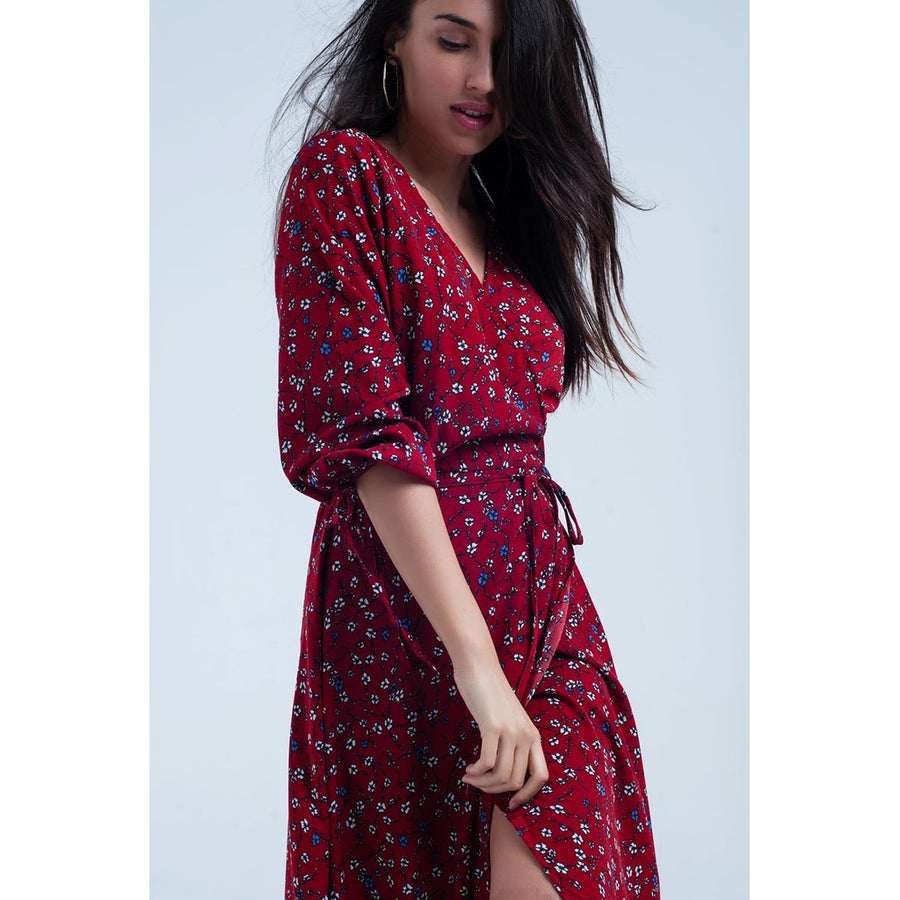 Red midi dress with flower detail